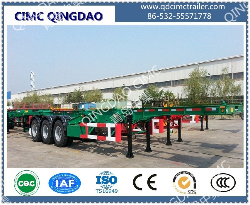 3 Axle Container Chassis Skeleton Semi Trailer Truck