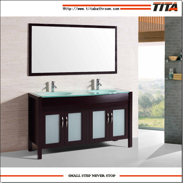 2016 Double Sink Solid Wood Floorstanding Bathroom Vanity T9132