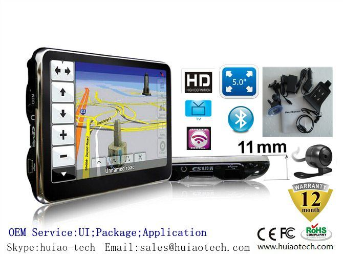"Cheap 5.0"" Car Portable GPS Navigation with Tmc Bluetooth AV-in ISDB-T TV"