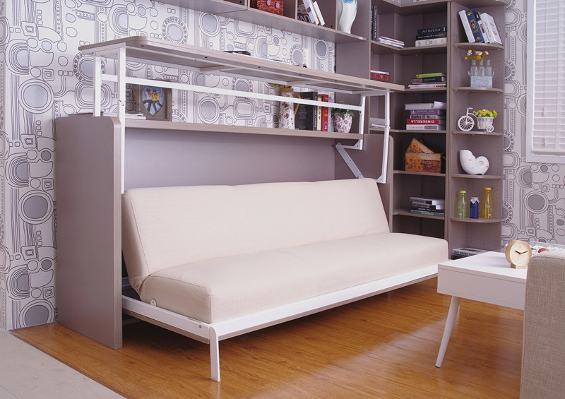Single Side Bedroom Wall Bed With Lifting Writing Desk