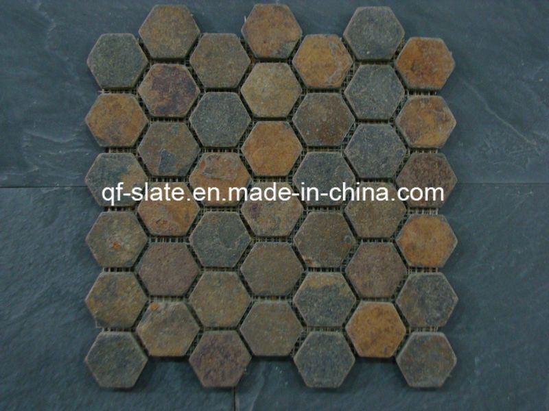 Rusty pizarra mosaico de piedra para revestimiento de la - Piedra pizarra oxidada ...