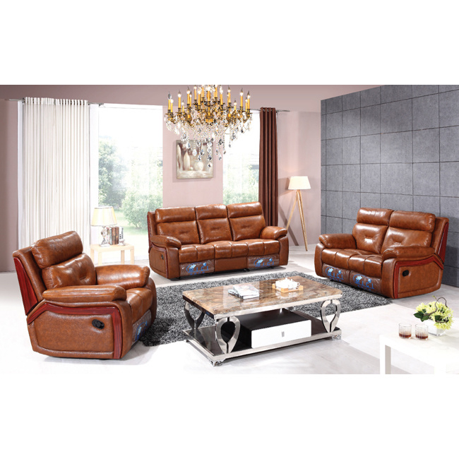 Luxury Wood Trim Italian Leather Recliner Sofa 6041m