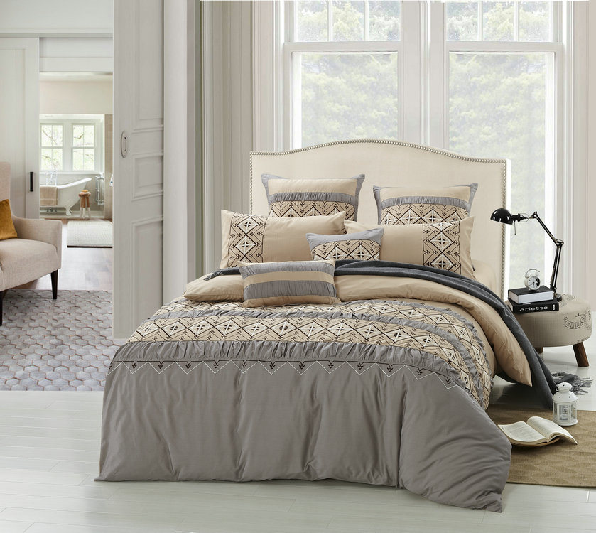 Brown-Grey 4 Pieces Emb&Pleat Bedding Set