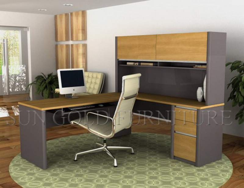 Modern Laminated Particle Board Computer Desk with Shelves Price (SZ-OD217)