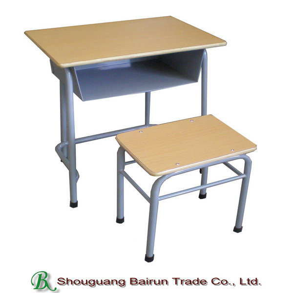 Metal Frame School Furniture Double Student Chair and Desk