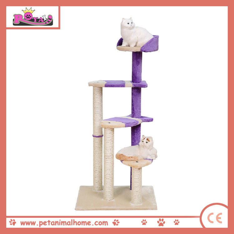 "48"" Luxury Three Layer Cat Playing Scratching Tree in Purple"