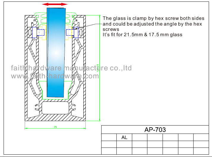 Aluminium Glass Balustrade Profile for Balustrade (AP. 703. AL)