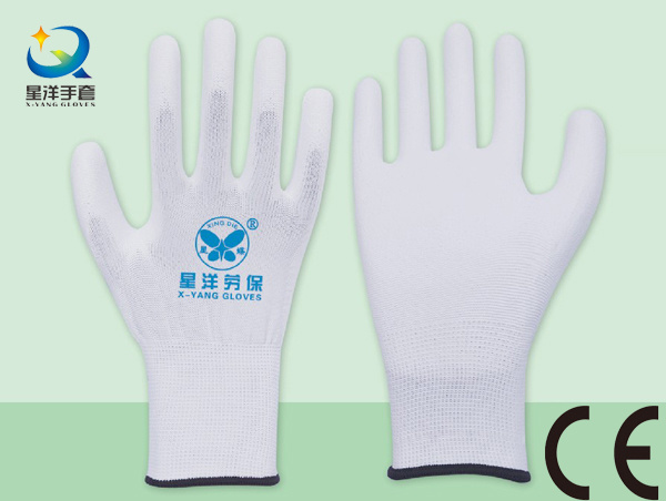 PU001 White Polyester Liner with White PU Coated Safety Gloves
