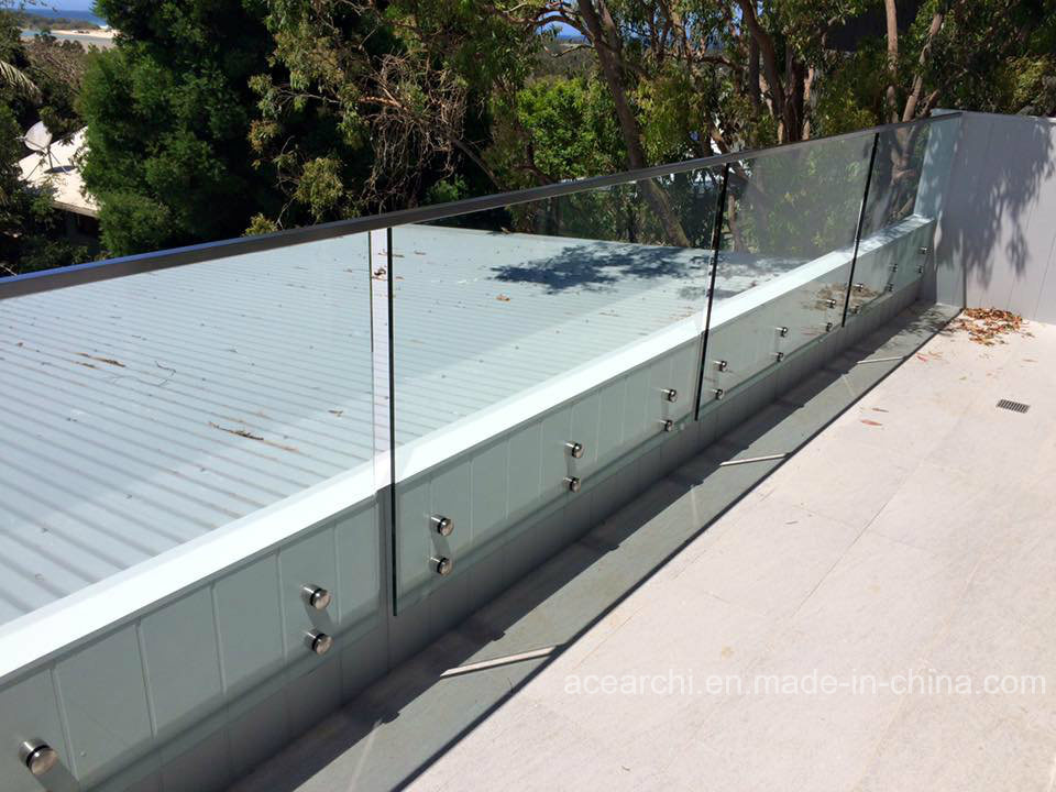 Fully Frameless Patch Fitting Tempered Glass Balustrade/Glass Railing with Australia Standard