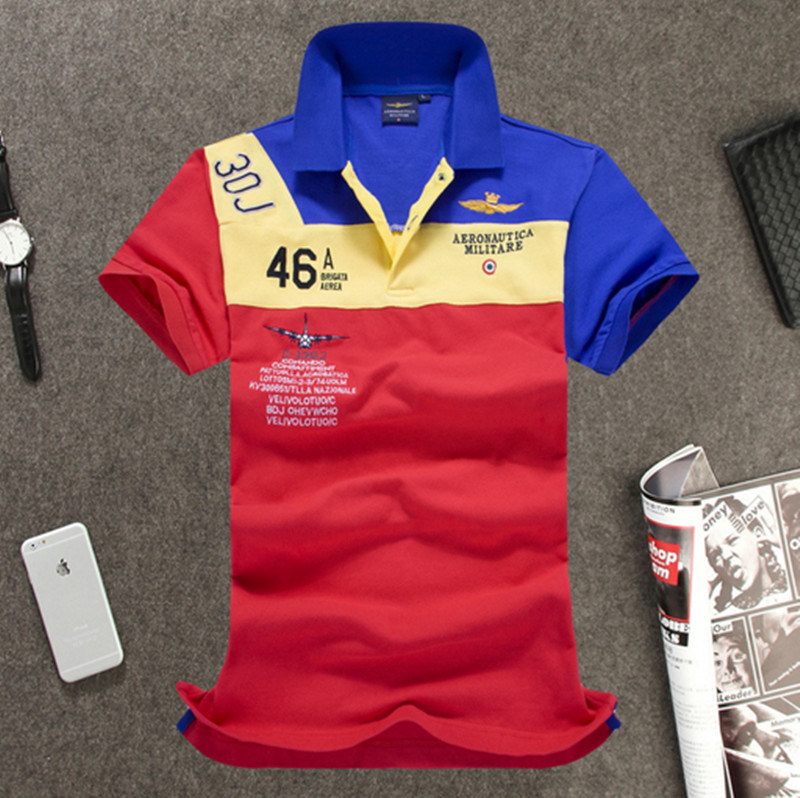 Manufacturer High Quality Short Sleeves Contrast Color Embroidery Polo Shirt