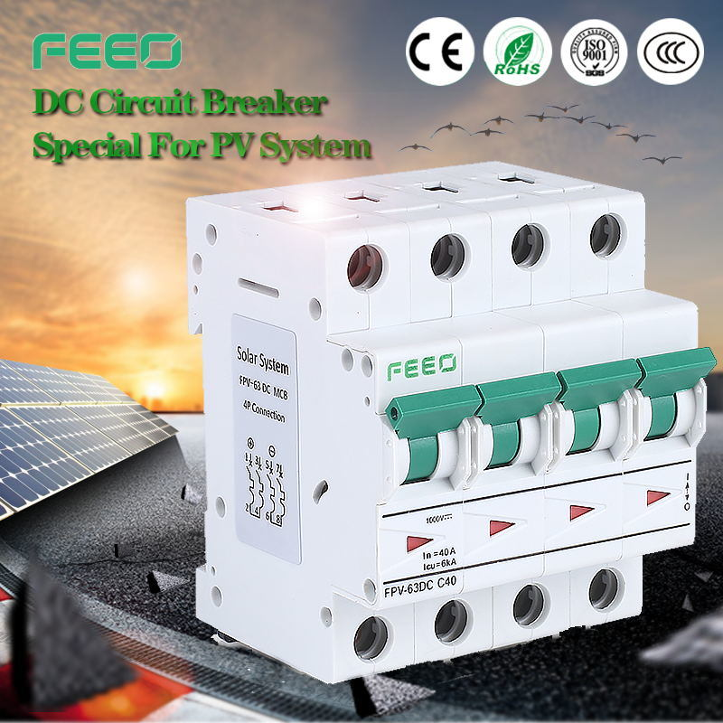 Free Samples! Ce IEC60947 Solar Application 2p, 3p, 4p 10A, 16A, 20A 12VDC-1000VDC Mini DC Circuit Breaker MCB