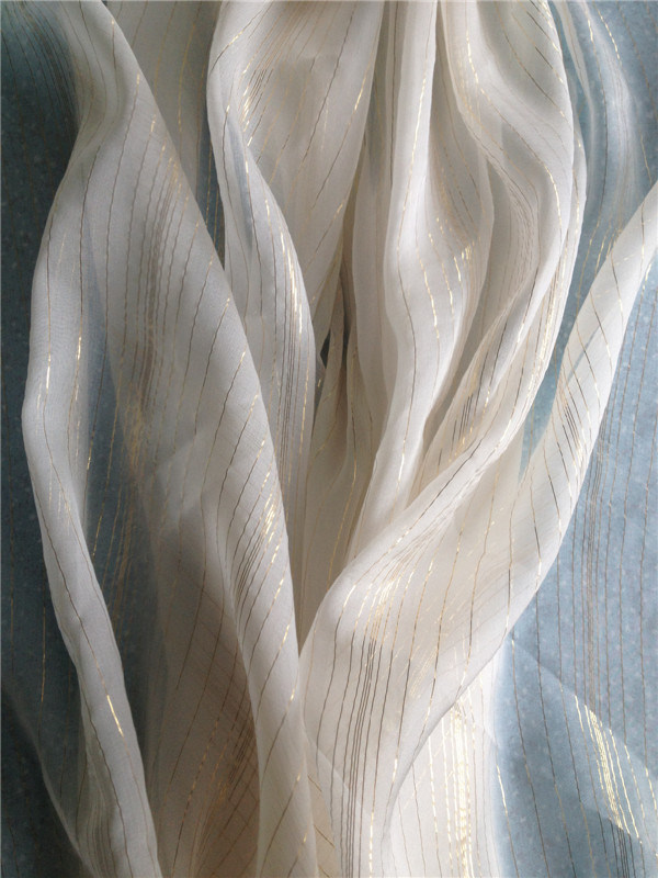 Plain Dyed Silk/Metallic Chiffon in Gold and Silver