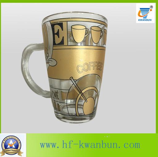 Glass Cup Mug with Lid with Decal Coffee Mug Kb-Hn0735