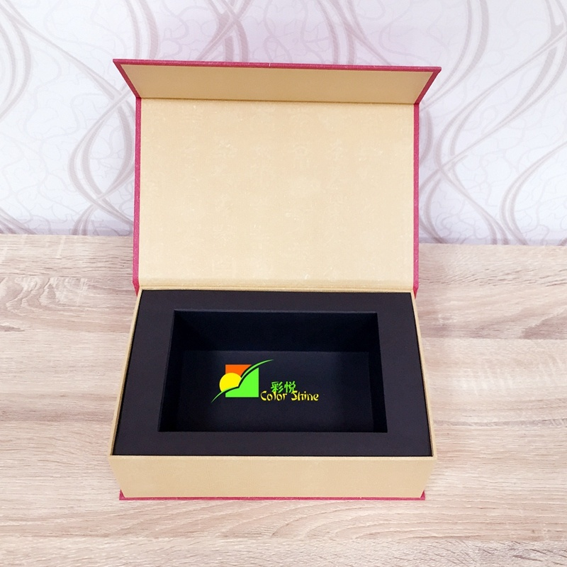 Colorful Art Paper Packing Gift Box with Black Tray