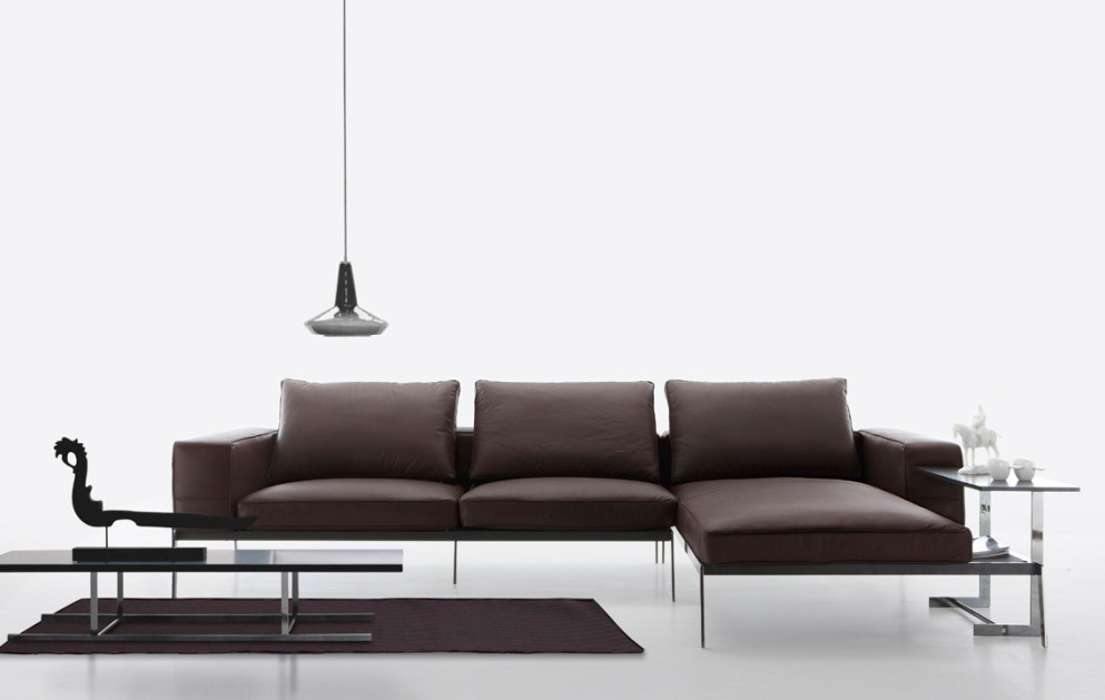 China american style leather modern leather sofa a9768 1 for Modern style sofa