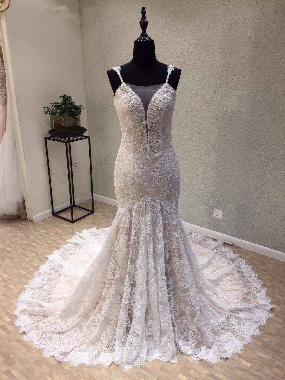 Fashion Lace Beading Mermaid Evening Prom Bridal Gown Wedding Dress