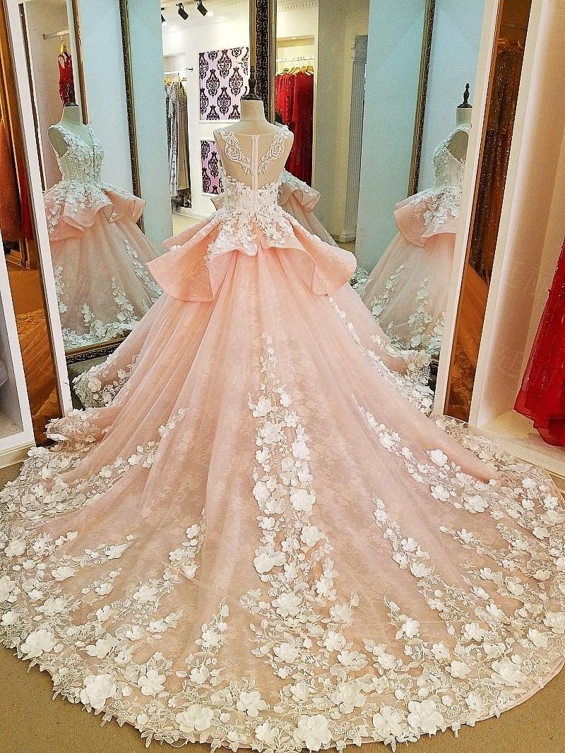 Arabic Flowers Bridal Ball Gowns Pink Lace Wedding Dress Lb20187