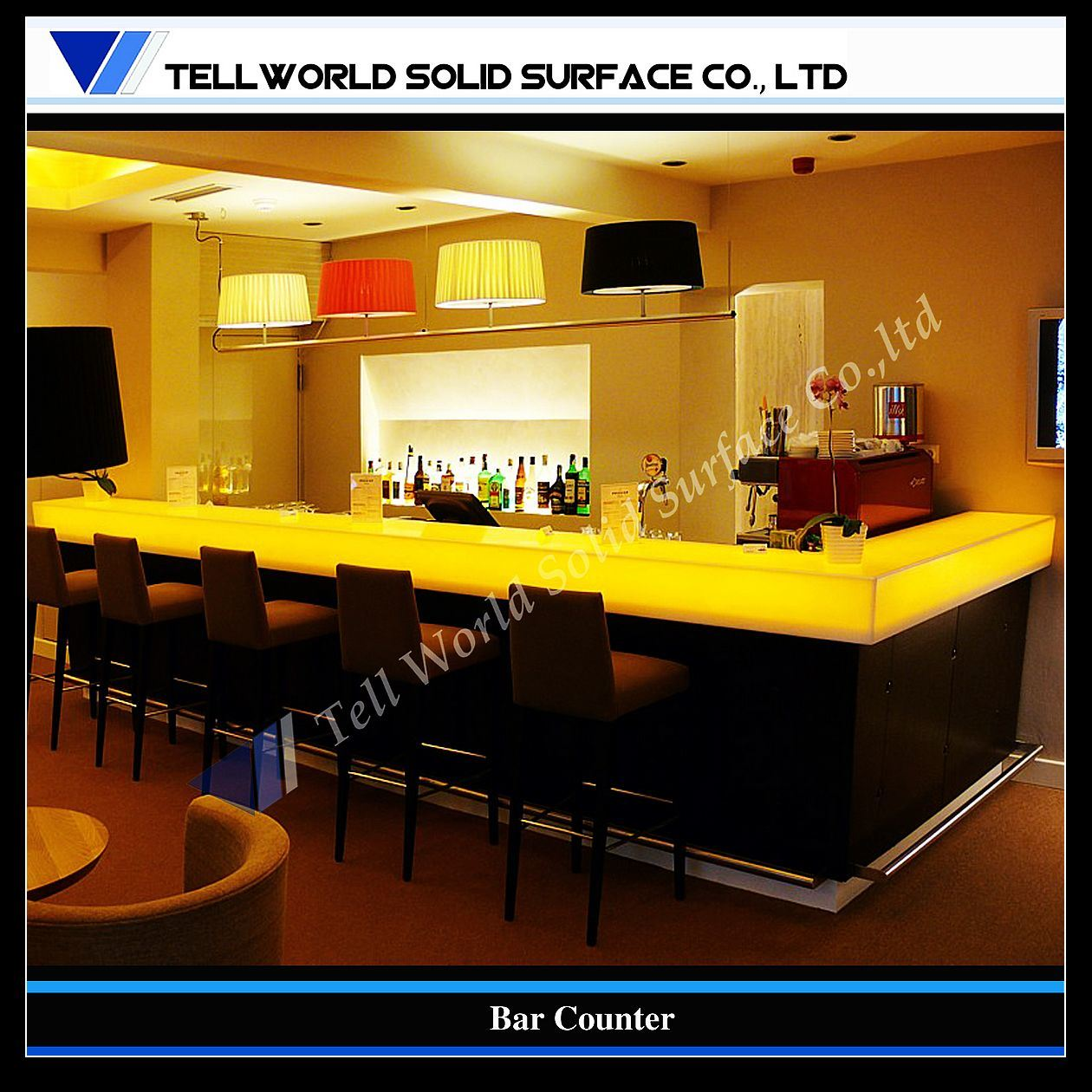 China translucent design artificial stone bar counter tw Bar counter design