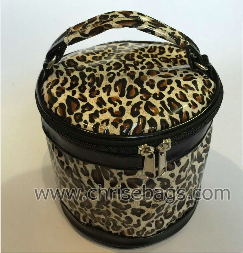 Faux-Leather Rounded Hand Cosmeitc Bag