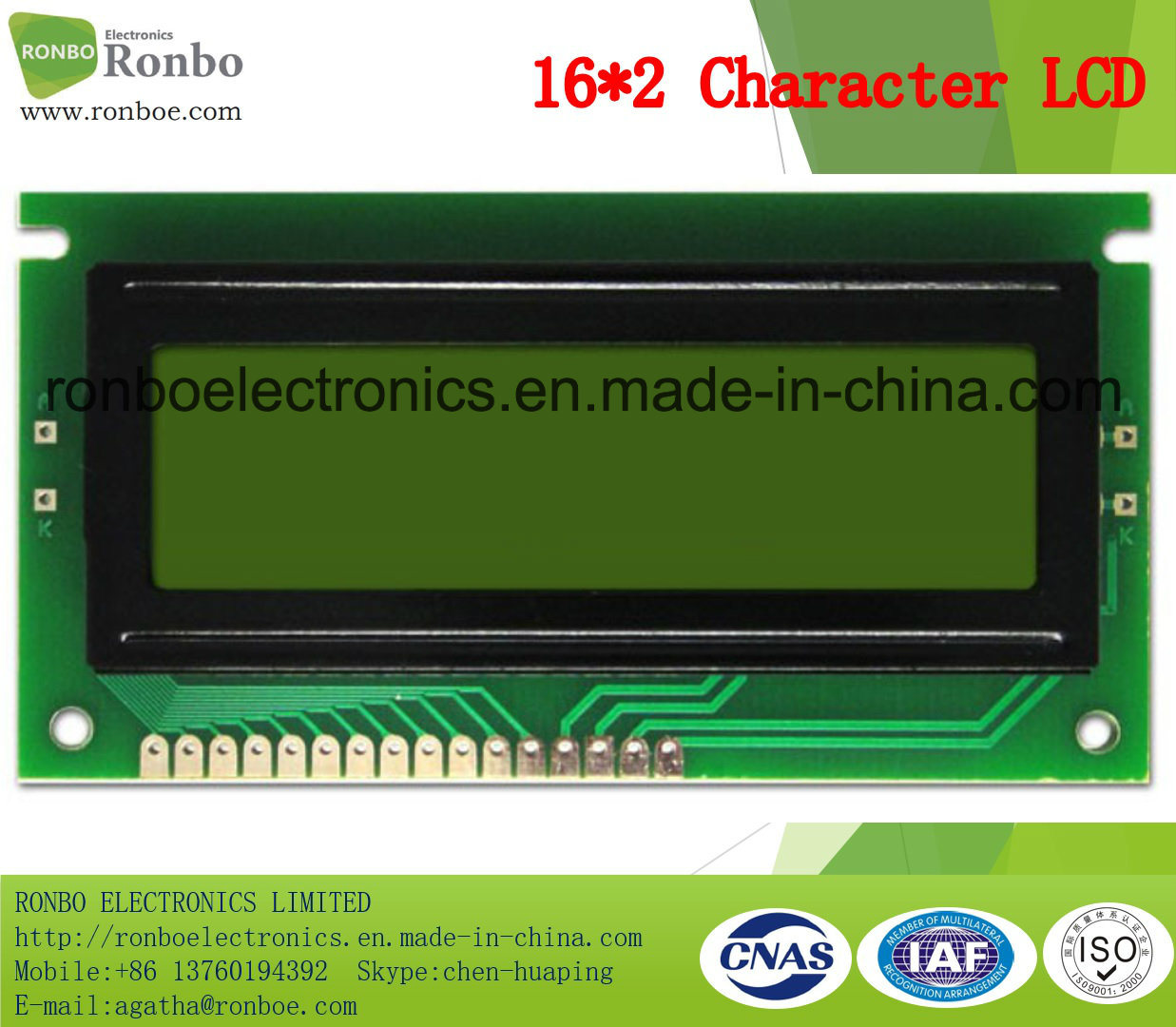 16X2 Stn Character LCM Display, MCU 8bit, Y-G Backlight, COB LCM Screen