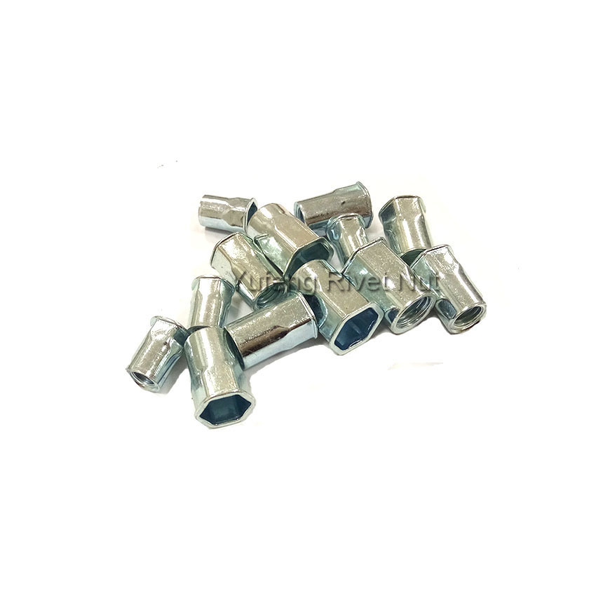 Carbon Steel Small Head Inside and Outside Hexagonal Rivet Nut Surface Treatment Zinc Plated