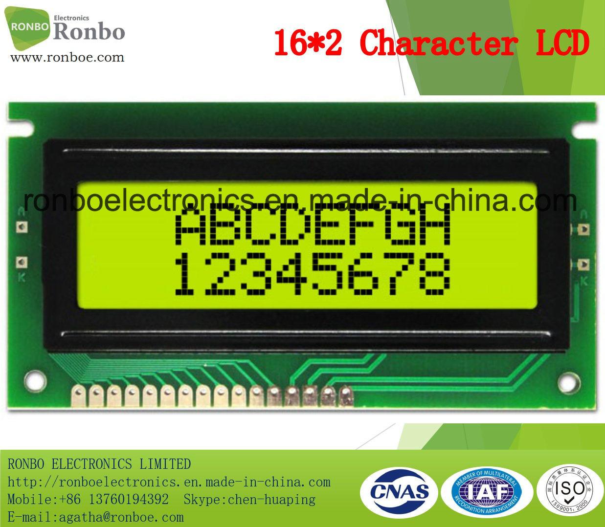 16X2 Stn Character LCM Display, MCU 8bit, Y-G Backlight, COB LCM Screen