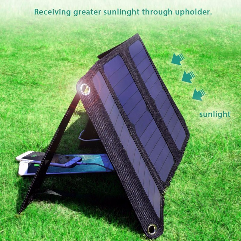 21W Foldable Solar Panel Bag Charger with Dual USB for iPhone6s 7 Android Samsung iPad