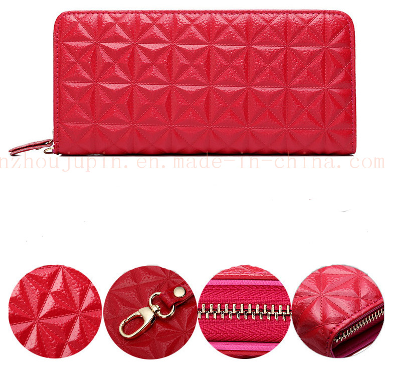 OEM Fashion Genuine Leather Lady′s Purse Wallet with Zipper