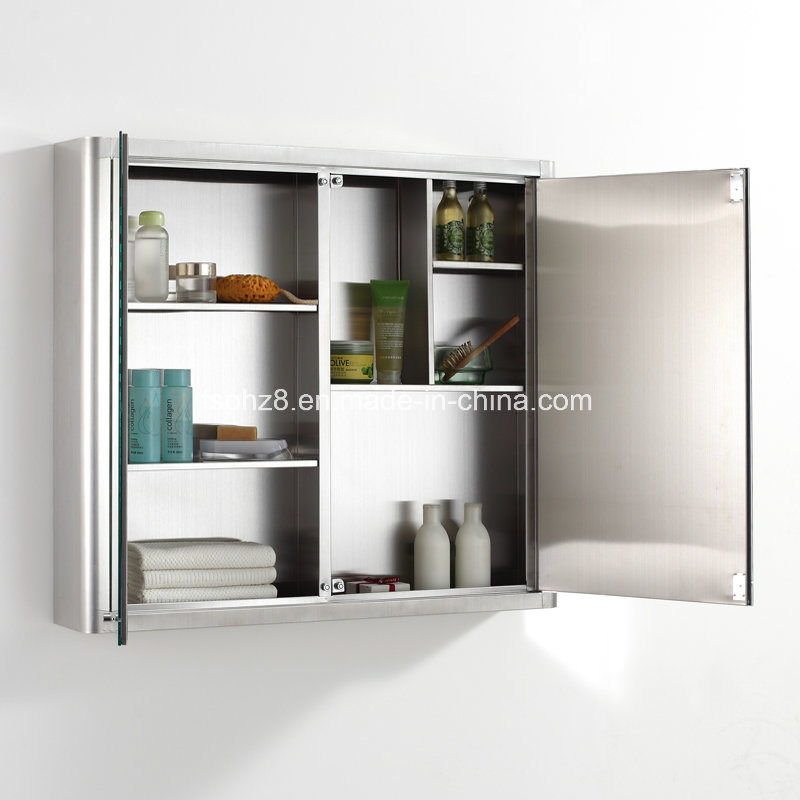 Most Popular Stainless Steel Furniture Bathroom Mirror Cabinet (7062)