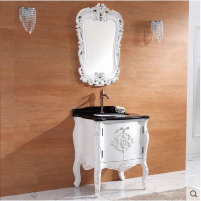 Ying Solid Wood Bathroom Cabinet Handwork Carving Basin