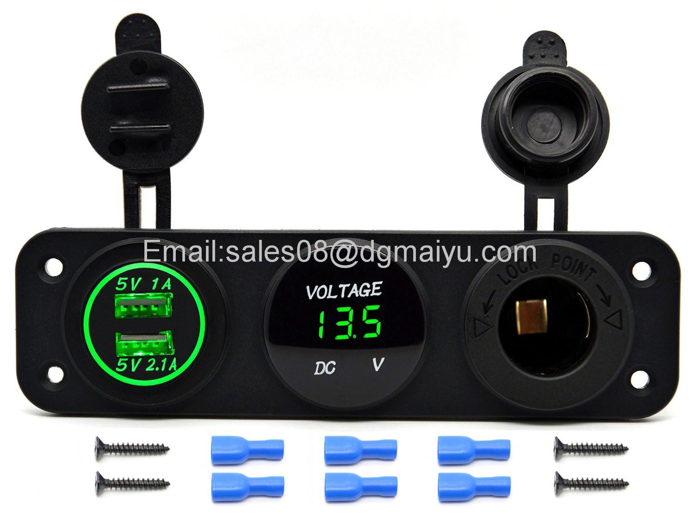 Triple Function Dual USB Charger + LED Voltmeter + 12V Outlet Power Socket Panel Jack for Car Boat Marine Digital Devices Mobile Phone Tablet (Blue LED)