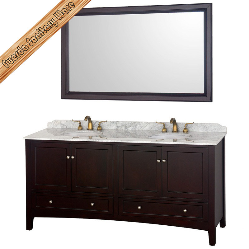 Fed-1569 72 Inch Elegant Cupc Double Sinks Marble Top Modern Bathroom Cabinets