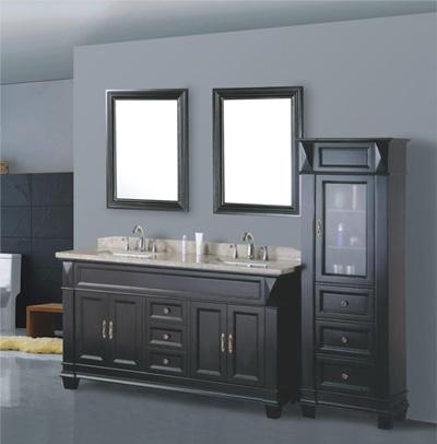 Black Double Sink Solid Wood Bathroom Furniture