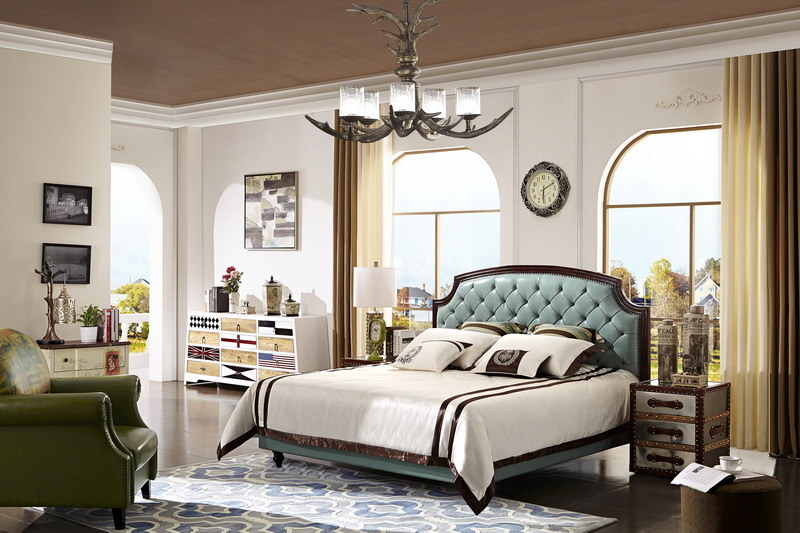 2017 Soft Leather Bed Modern Bedroom Furniture in China Foshan