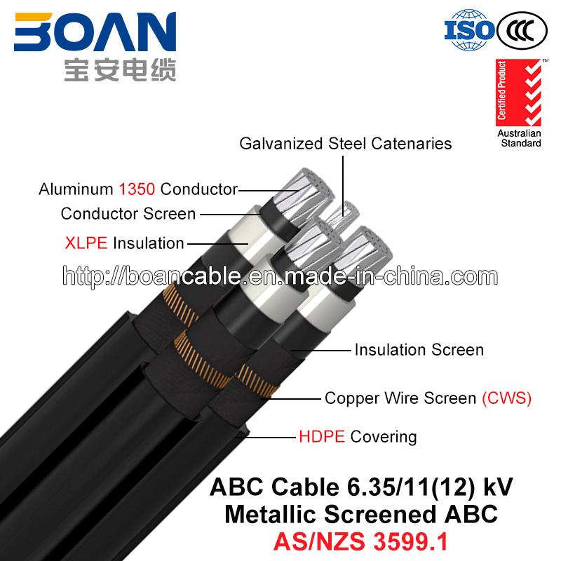 Hv ABC Cable, Aerial Bundled Cable, Al/XLPE/Cws/HDPE+Gsw, 3/C+1/C, 6.35/11 Kv (AS/NZS 3599.1)