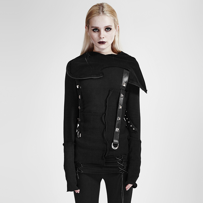 Y-680 Punk Street Decadent Thread Stitching More Layers Knitted Sweater with Hood