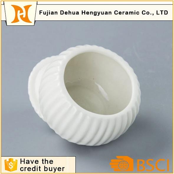Glazed White Ceramic Sugar Pot for Home Decoration