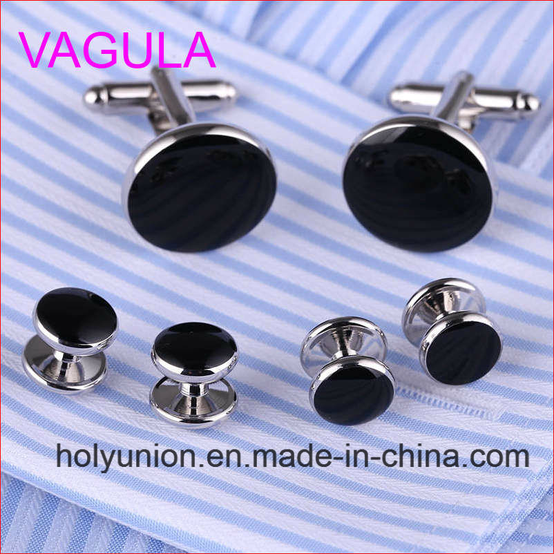 VAGULA Quality New Silver Gemelos Cufflinks Collar Studs in 6PCS Set (295)