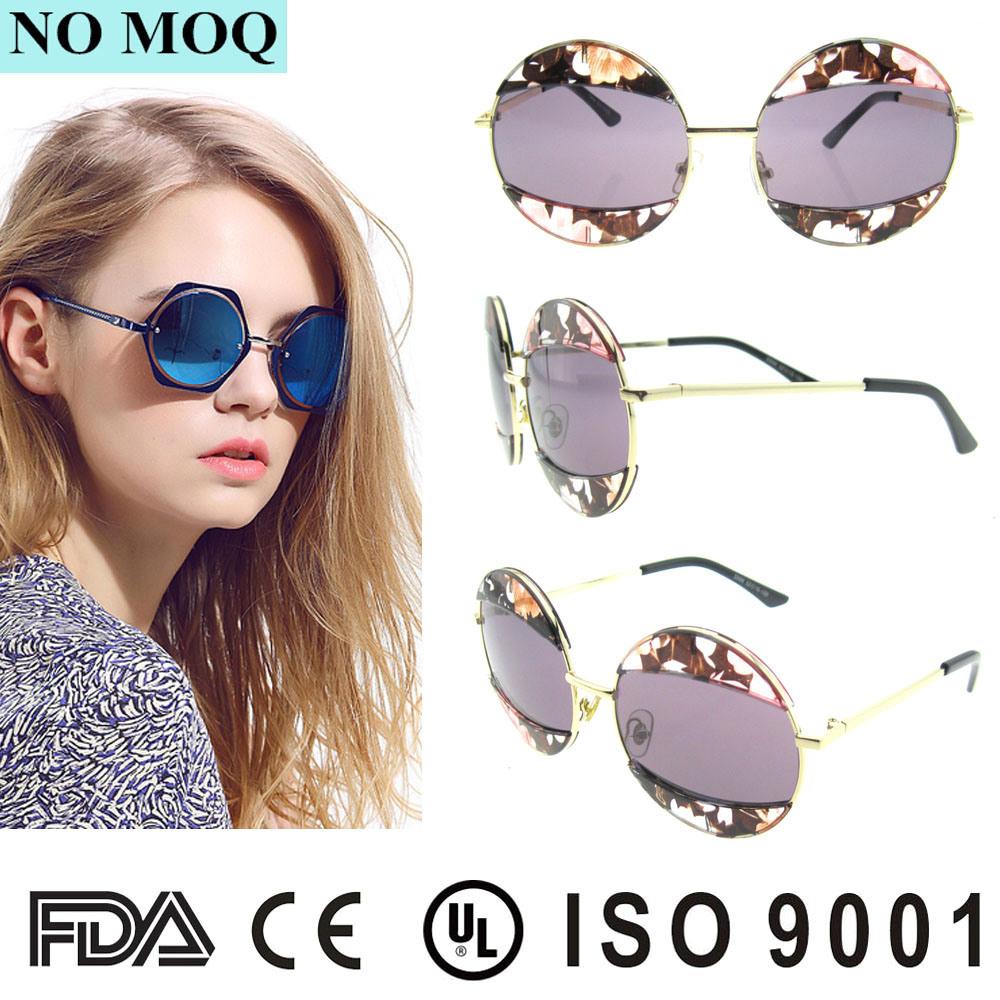 2016 Products Fashion Brand Mirror Round Women′s Order Sunglasses