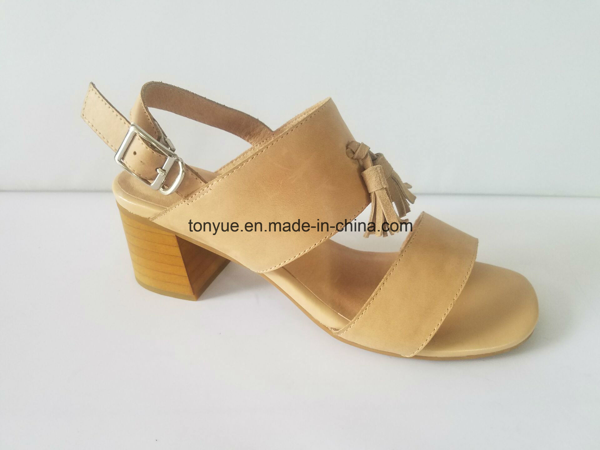 Lady Waxed Leather Square Flat Belt Tassel with Leisure Simple Sandals