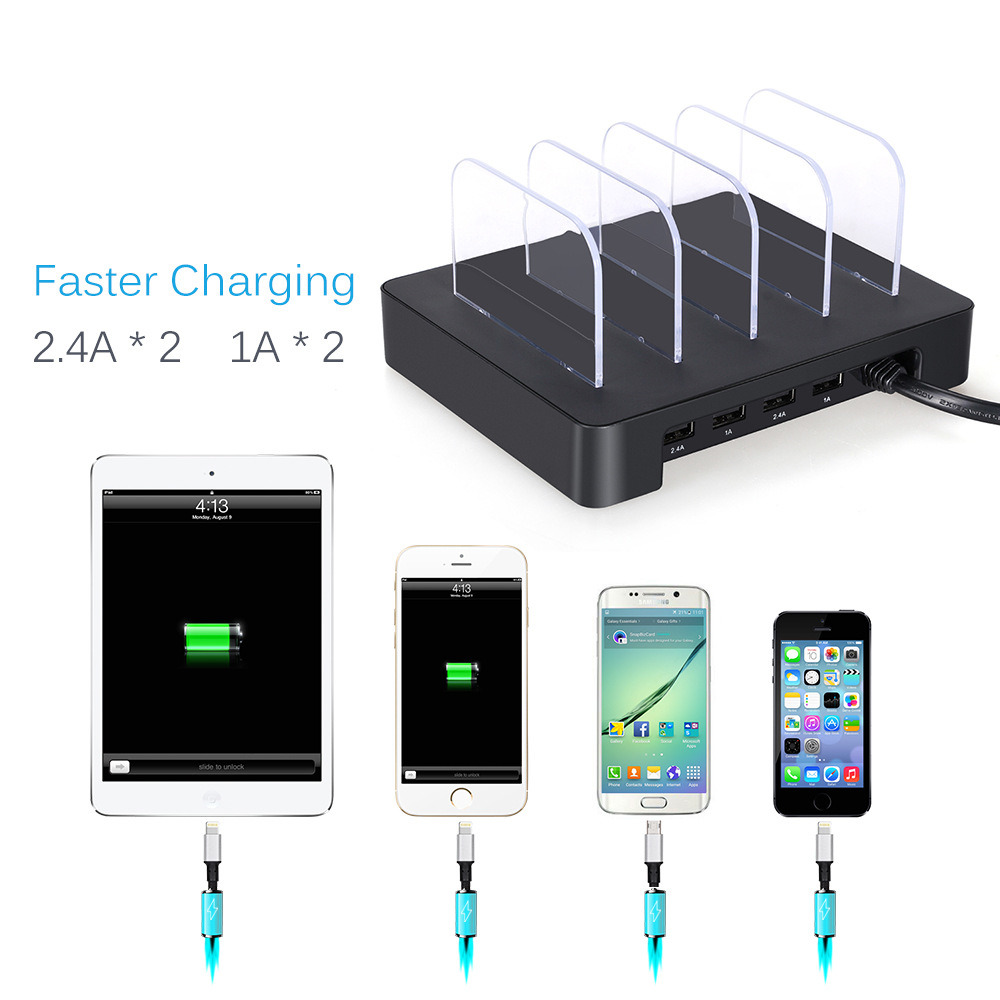 4ports Mobile Phone USB Charging Station for iPhone 7/7plus/iPad Air