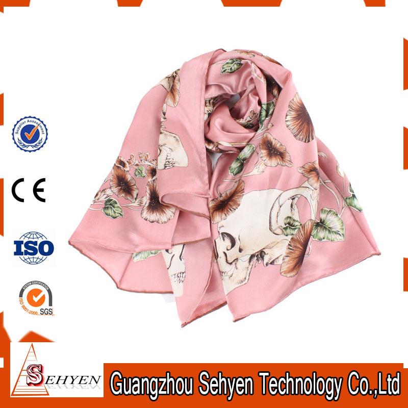 Long Multicolor Printed Lady Fashion Silk Scarf