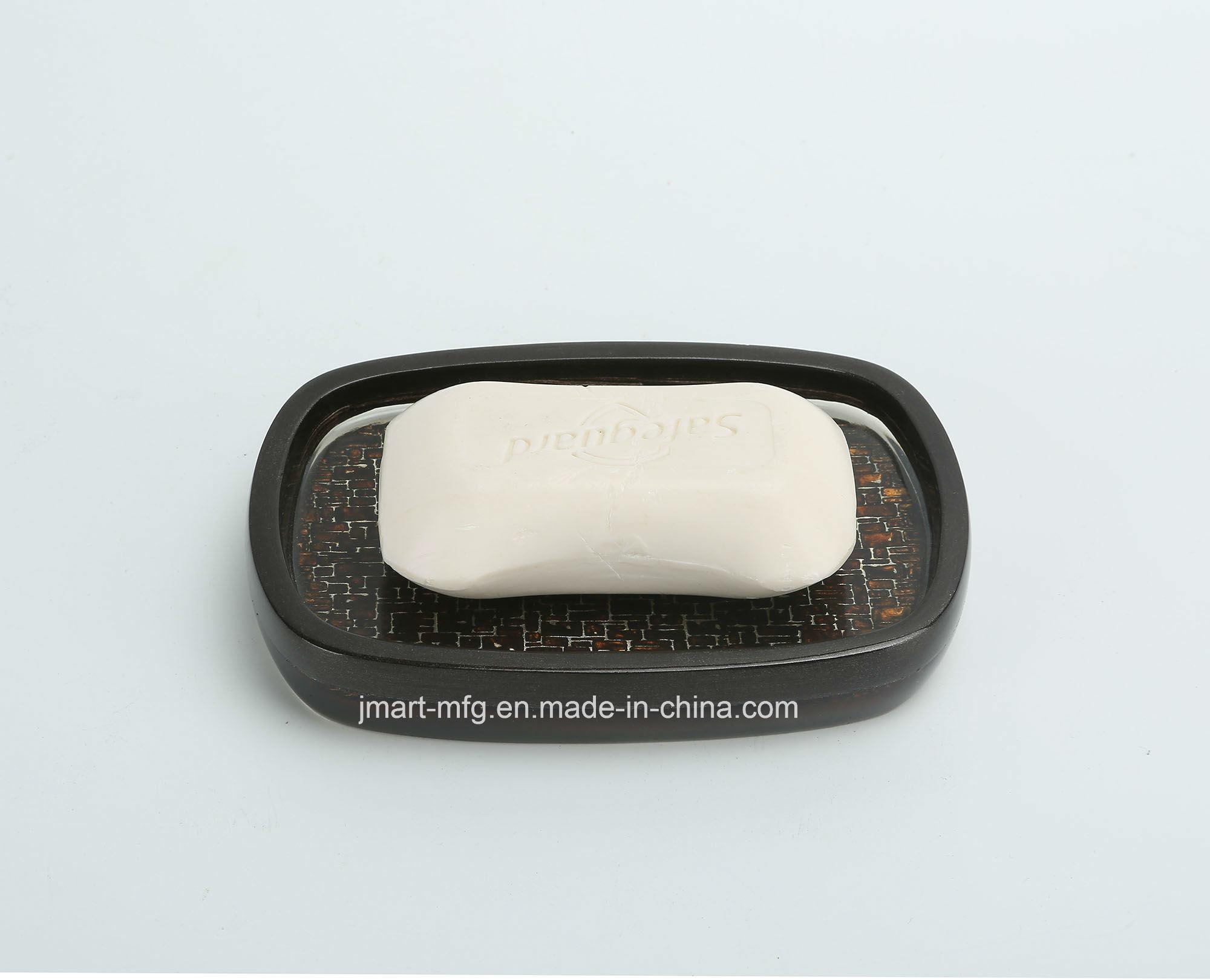 Double-Layer Clear Polyresin Hand Paint 3D Bathroom Accessory