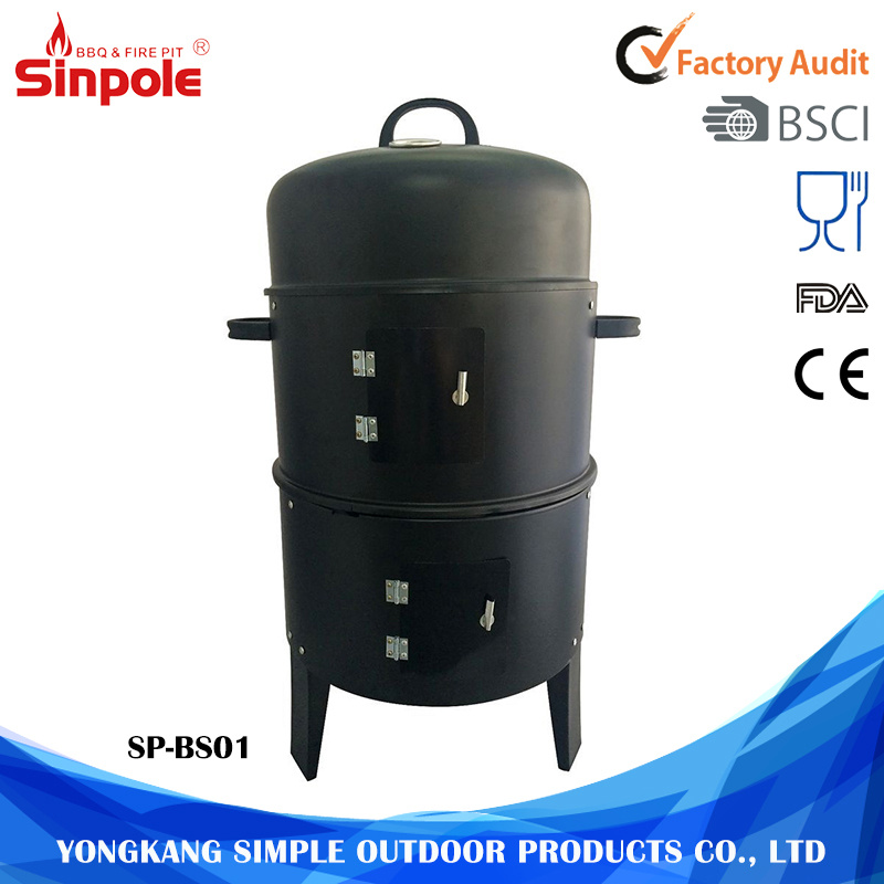 Garden Outdoor 3 in 1 Black BBQ Charcoal Smoker Grill