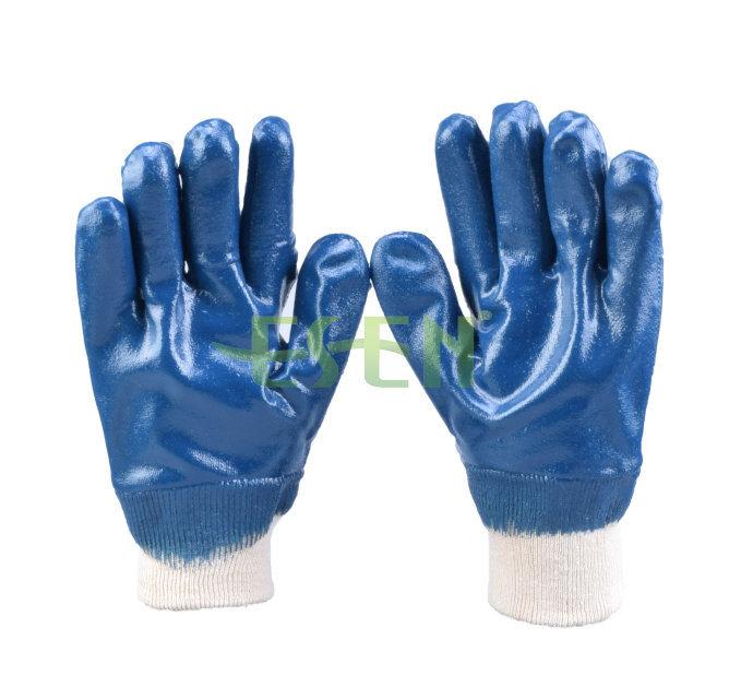 Blue Nitrile Coated Cotton Liner Knit Wrist Work Glove (D15-Y1)