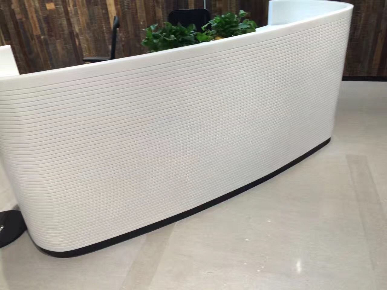 Glacier White Corian Office Front Desk