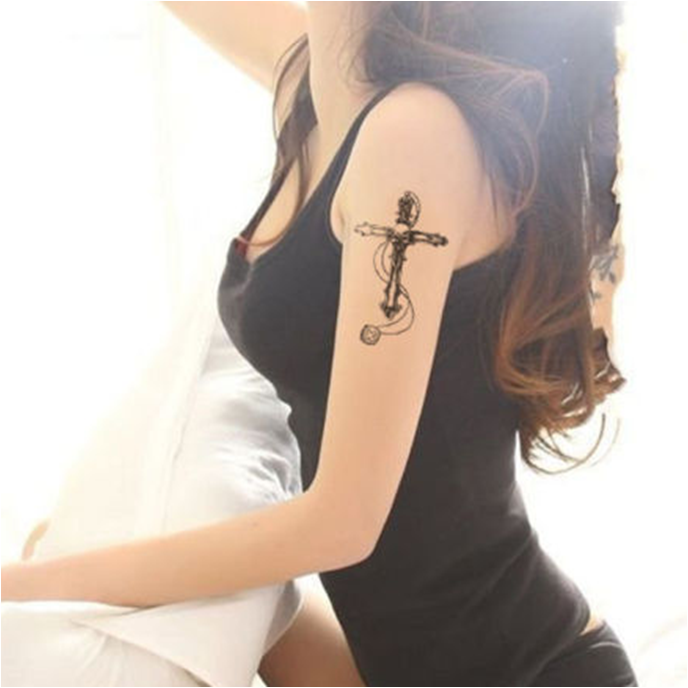 Fashionable Skull Cross Temporary Tattoo Sticker Art Tattoo Sticker