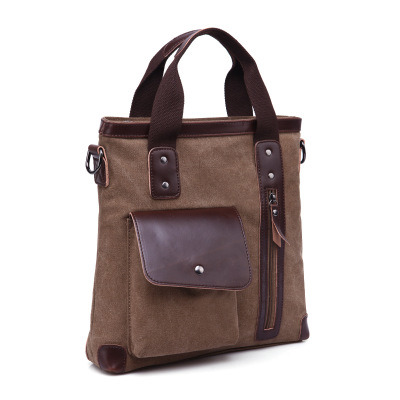 Vertical Retro Canvas Messenger Bag Courier Bag Briefcase