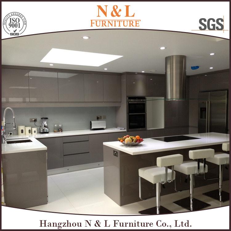 N & L 2017 Modern Kitchen Furniture Wood Veneer Kitchen Cabinet