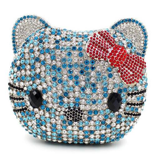 Fashion Crystalstone Evening Bag Cat Face Ladies Clutch Bags Handbag Leb737